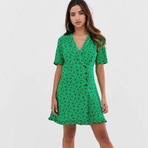 ASOS Wrap Mini Dress Green Black Floral